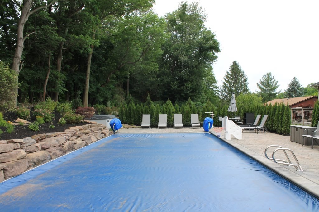 Pool coping and patio